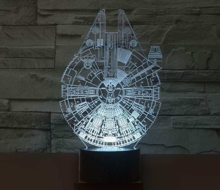 Stars Wars Millennium Falcon 3D LED Light Lamp Tabletop Decor 7 Colors -Star Wars Character