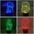 Star Wars 3D LED Light Lamp Tabletop Decor 7 Colors -Star Wars SALE