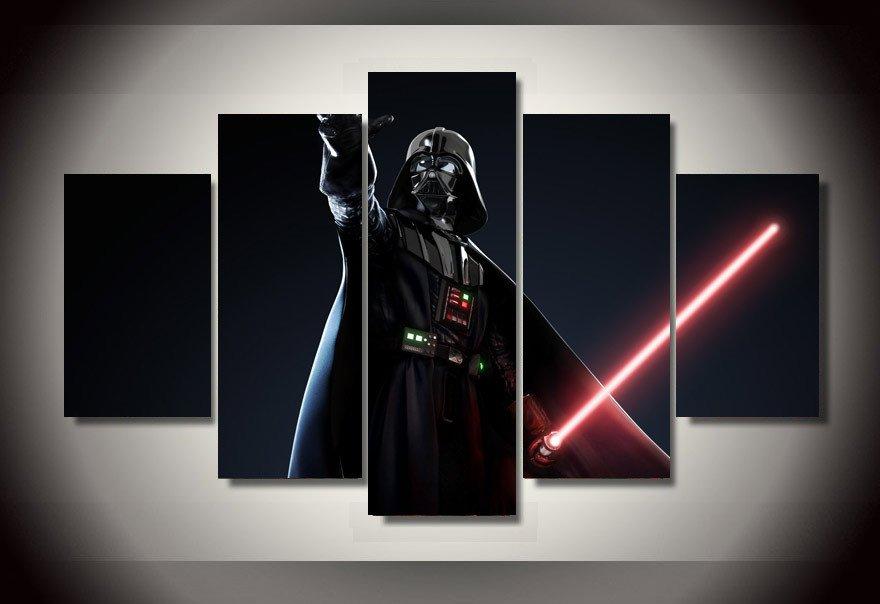 Darth Vader Light Saber Star Wars 5pc Wall Decor Framed Oil Painting bedroom art