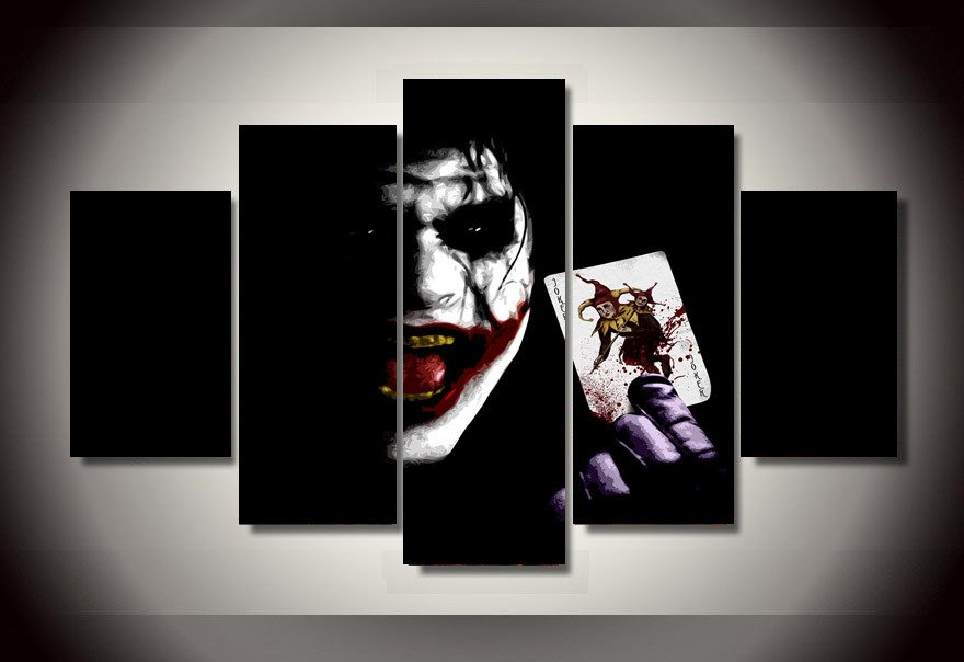 The Joker Batman DC Comics 5pc Wall Decor Framed Oil Painting #4 movie art Superhero