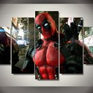 Deadpool Gaming Character 5pc Wall Decor Framed  Oil Painting Superhero Bedroom Art