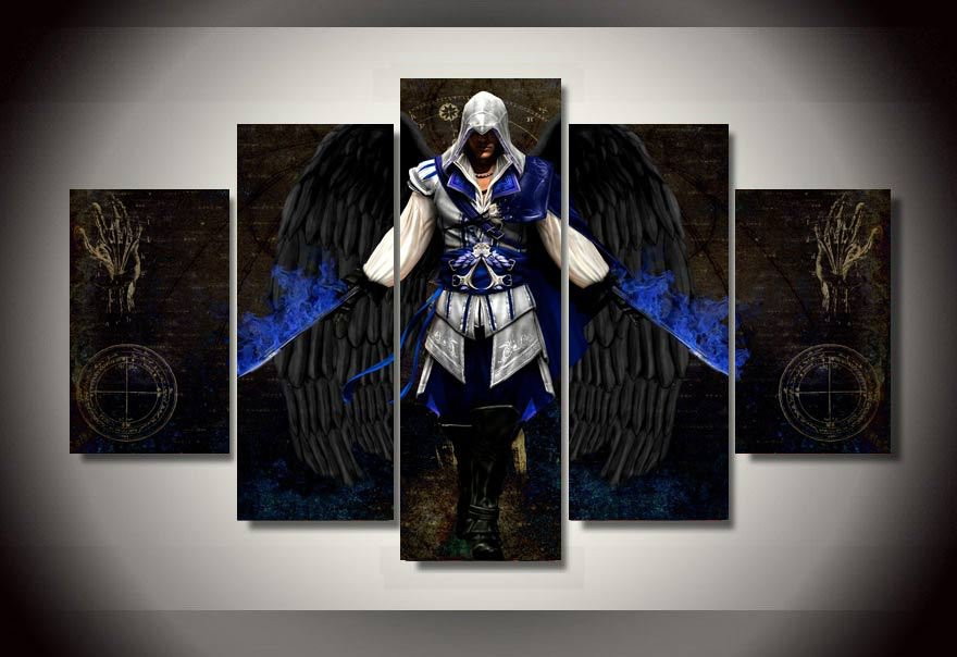 Assassins Creed Gaming 5pc Wall Decor Framed  Oil Painting Bedroom Art