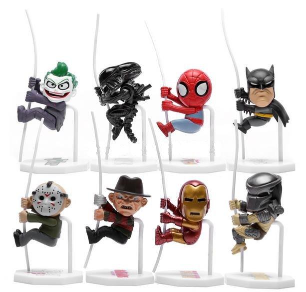8pcs Freddy Jason Joker Batman Alien Batman Climbing Action Figures