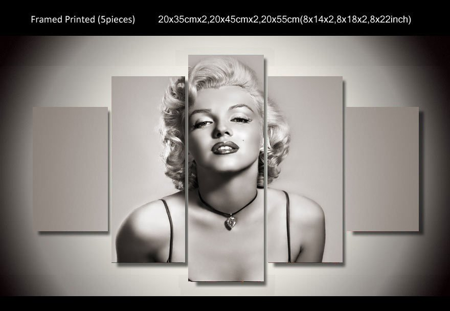 Marilyn Monroe Framed 5pc Oil Painting Wall Decor 3 Hollywood Movie Celebrity Art