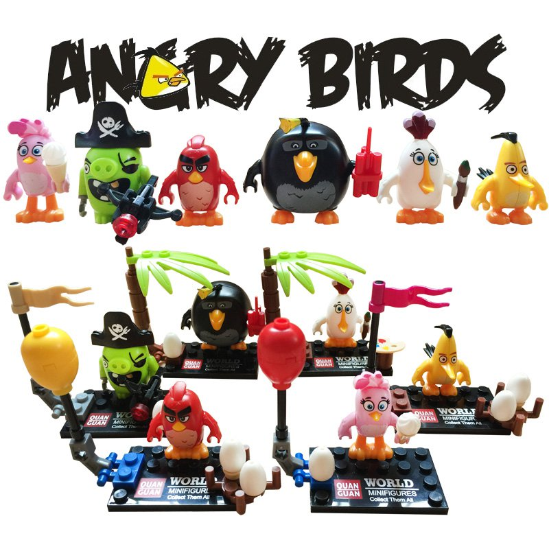 Angry Birds 6pc Mini Figures Building Blocks Minifigures Block Build Set