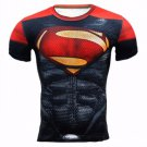 Superman  Red Black Compressed Short sleeve fitting shirts Adult Size Design