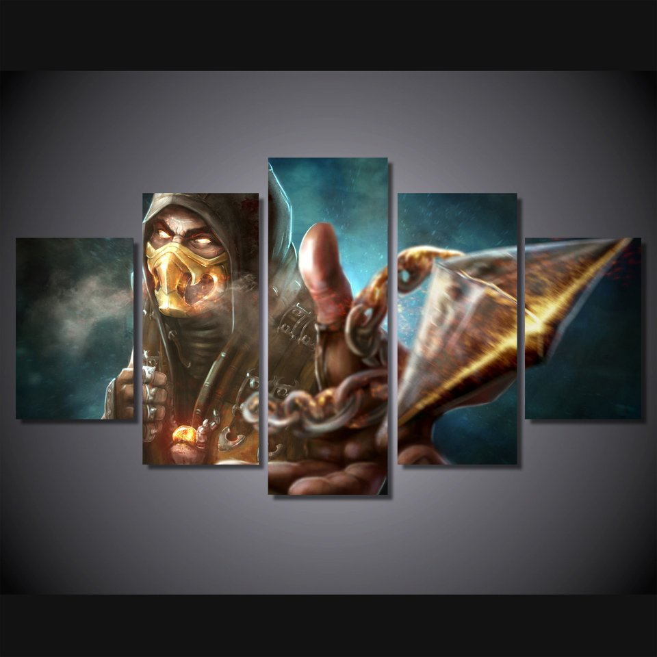 Mortal Combat Storm Gaming 5pc Wall Decor Framed Oil Painting Bedroom Art
