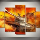 War of Tanks Gaming 5pc Wall Decor Framed Oil Painting Bedroom Art