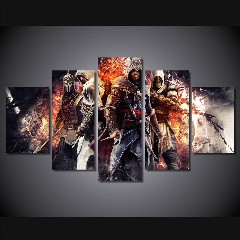 Assassins Creed Gaming 5pc Wall Decor Framed  Oil Painting 2 Bedroom Art