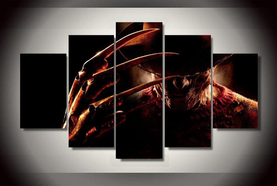 Nightmare on Elm Street Movie Framed 5pc Oil Painting Wall Decor  Freddy Krueger Horror