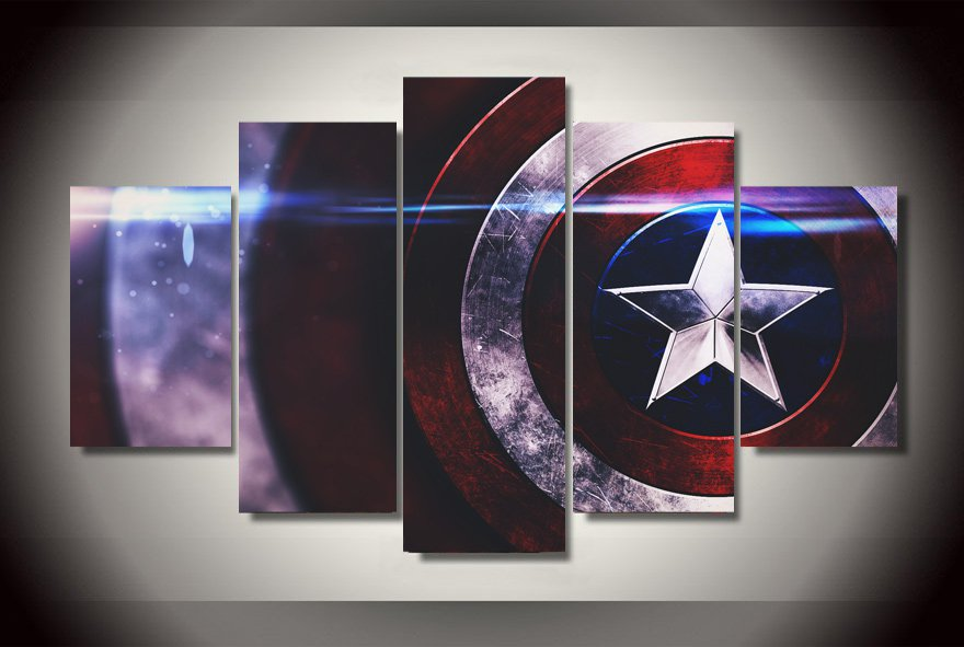 Captain America Shield Framed 5pc Oil Painting Wall Decor Comics Superhero