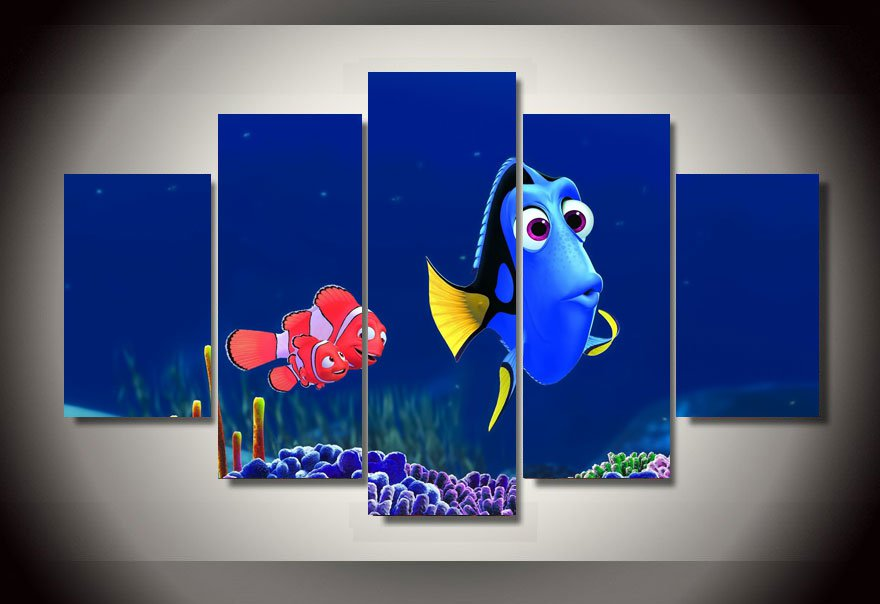 Finding Nemo Framed 5pc Oil Painting Wall Decor Disney Cartoon