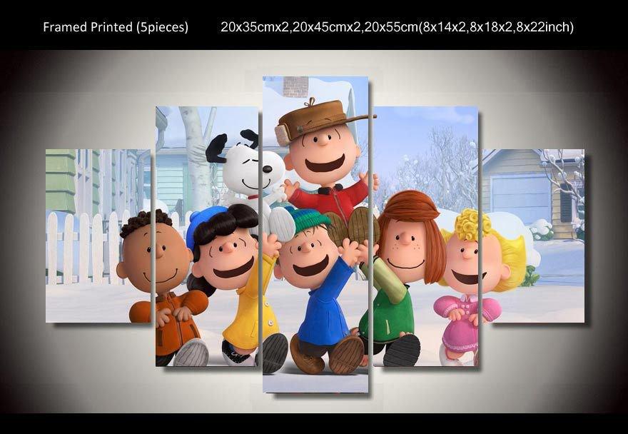 Peanuts Gang Charlie Brown Framed 5pc Oil Painting Wall Decor Cartoon