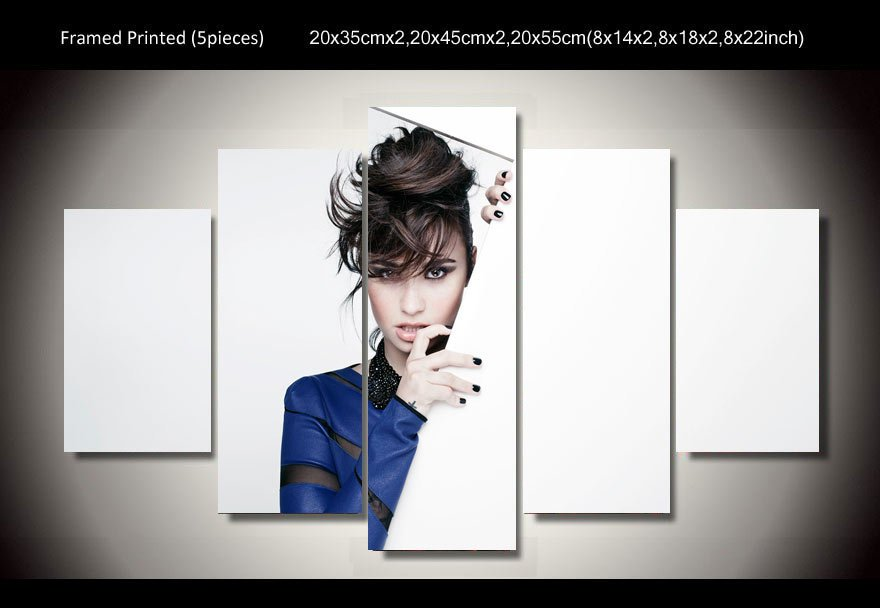 Demi Lovato Framed 5pc Oil Painting Wall Decor Music Artist Hollywood