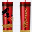 Wonder Woman Red Glitter Custom Name Long Tumbler Sipper Cups