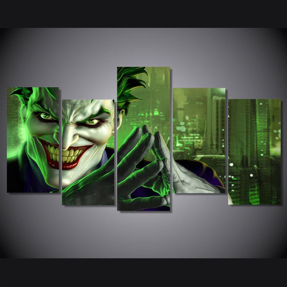 The Joker Batman DC Comics 5pc Wall Decor Framed Oil Painting Comic art HD Superhero