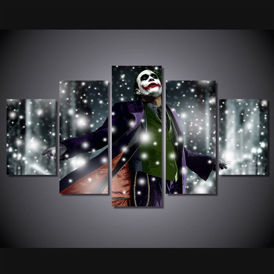 The Joker Batman Movie DC Comics 5pc Wall Decor Framed Oil Painting #11 Superhero