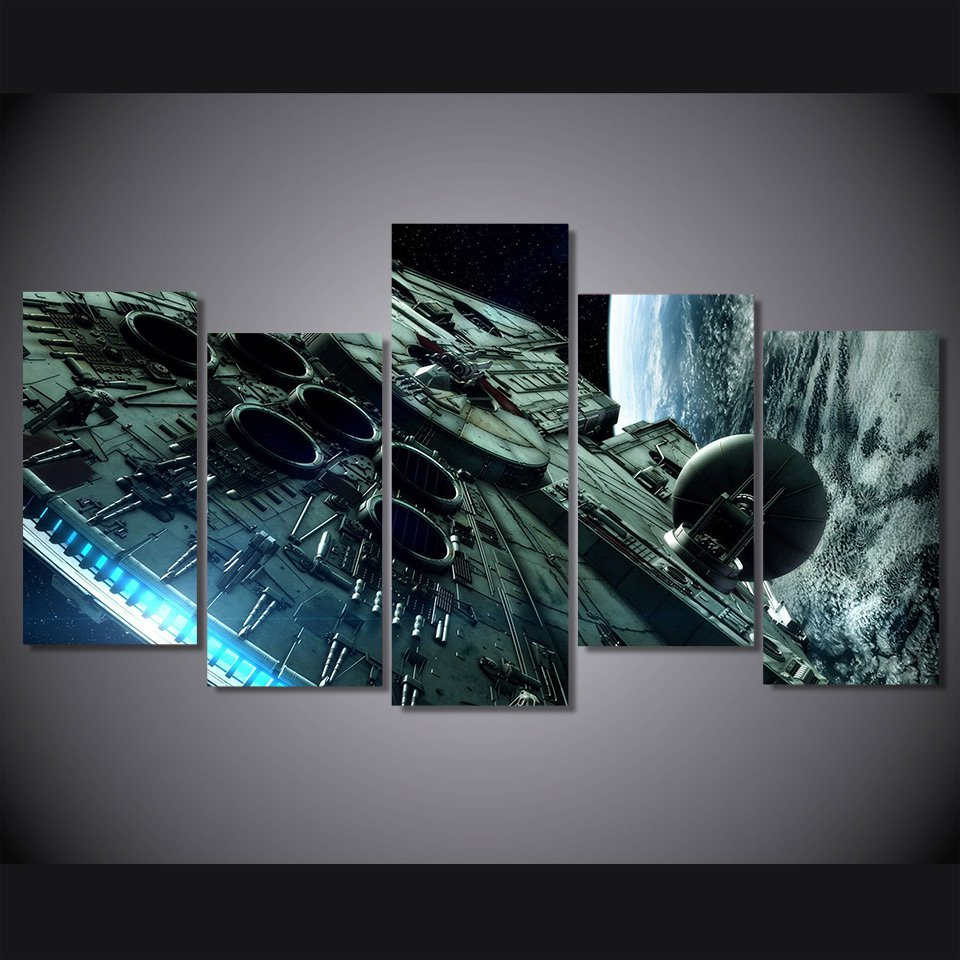 Star Wars millennium falcon star wars 5pc Wall Decor Framed Oil Painting
