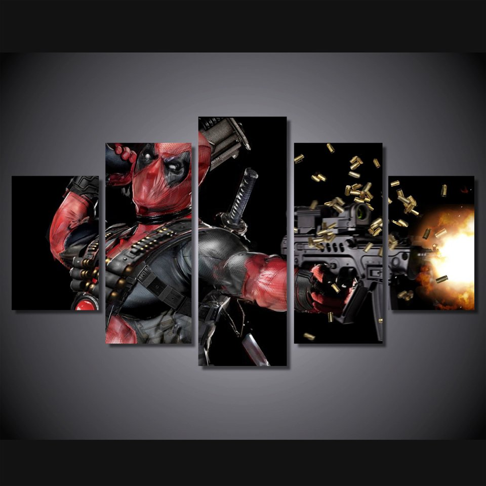 Deadpool Gaming Character 5pc Wall Decor Framed Oil