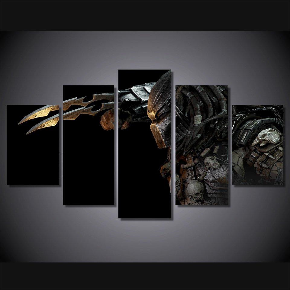 Predator Movie Character 5pc Wall Decor Framed  Oil Painting Horror