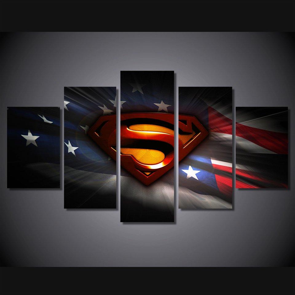 Superman American Flag Framed 5pc Oil Painting Wall Decor Comics DC Marvel HD Superhero