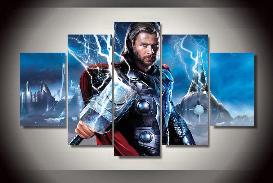 Thor Movie 5pc Oil Painting Wall Decor  HD Comics Superhero