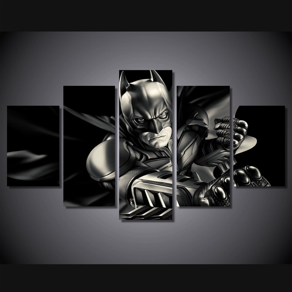 Dark Knight Batman Movie 5pc Framed Canvas Oil Painting Wall Decor  HD Superhero