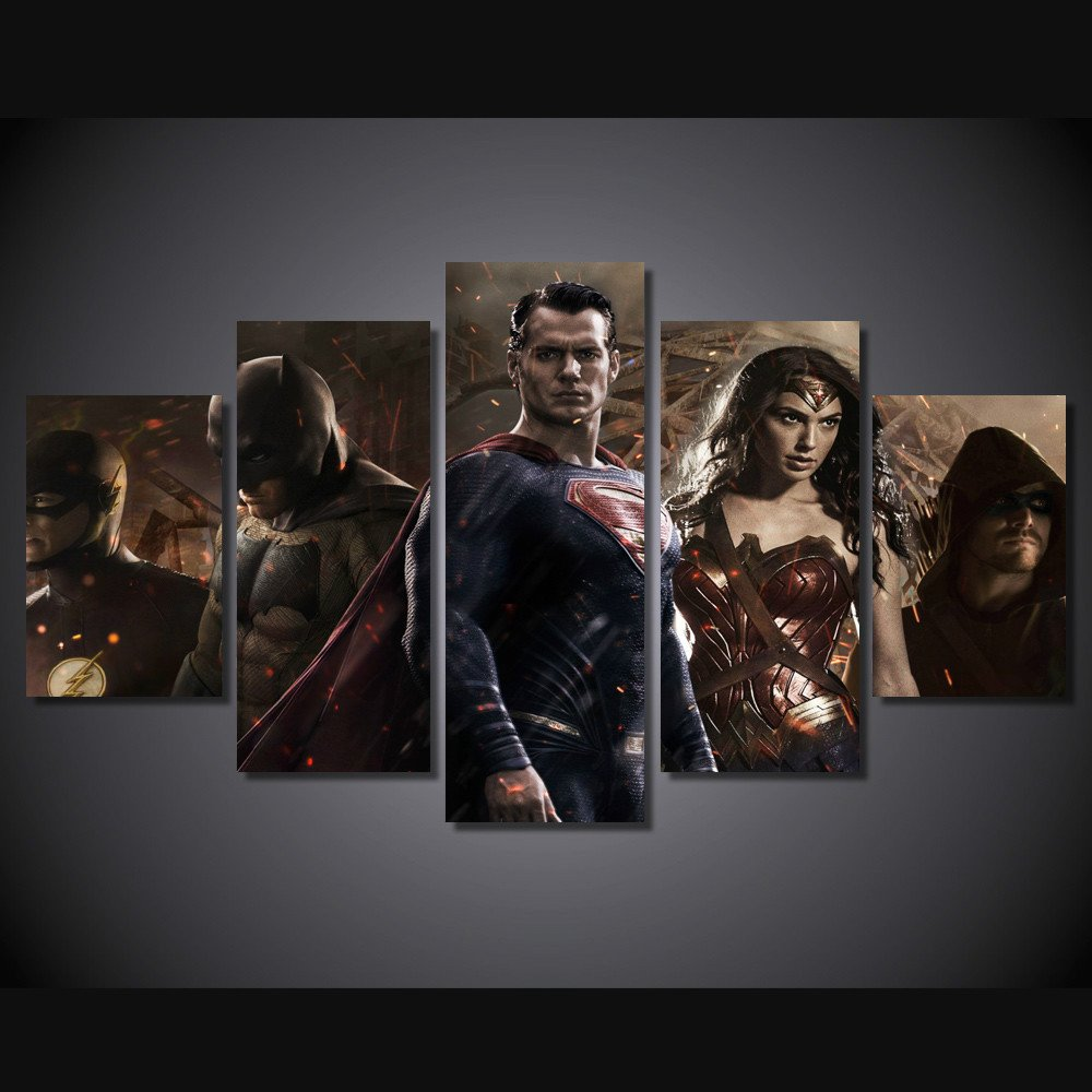 Batman vs Superman Movie 5pc Framed Canvas Oil Painting Wall Decor  HD Superhero