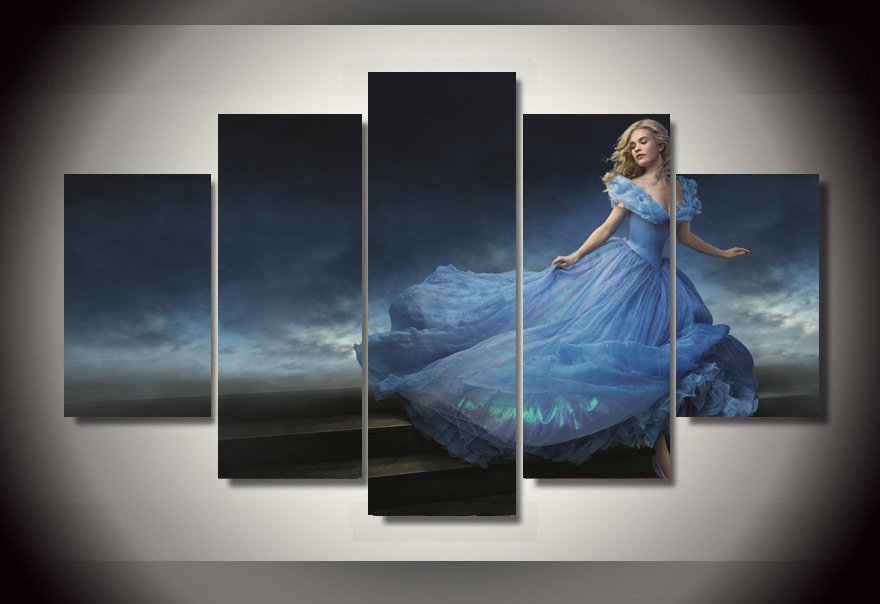 Cinderella Character Disney Princess 5pc Wall Decor Framed Oil Painting