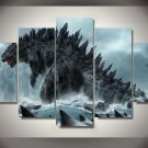 Godzilla Movie 5pc Framed Canvas Oil Painting Wall Decor  HD Horror Horror