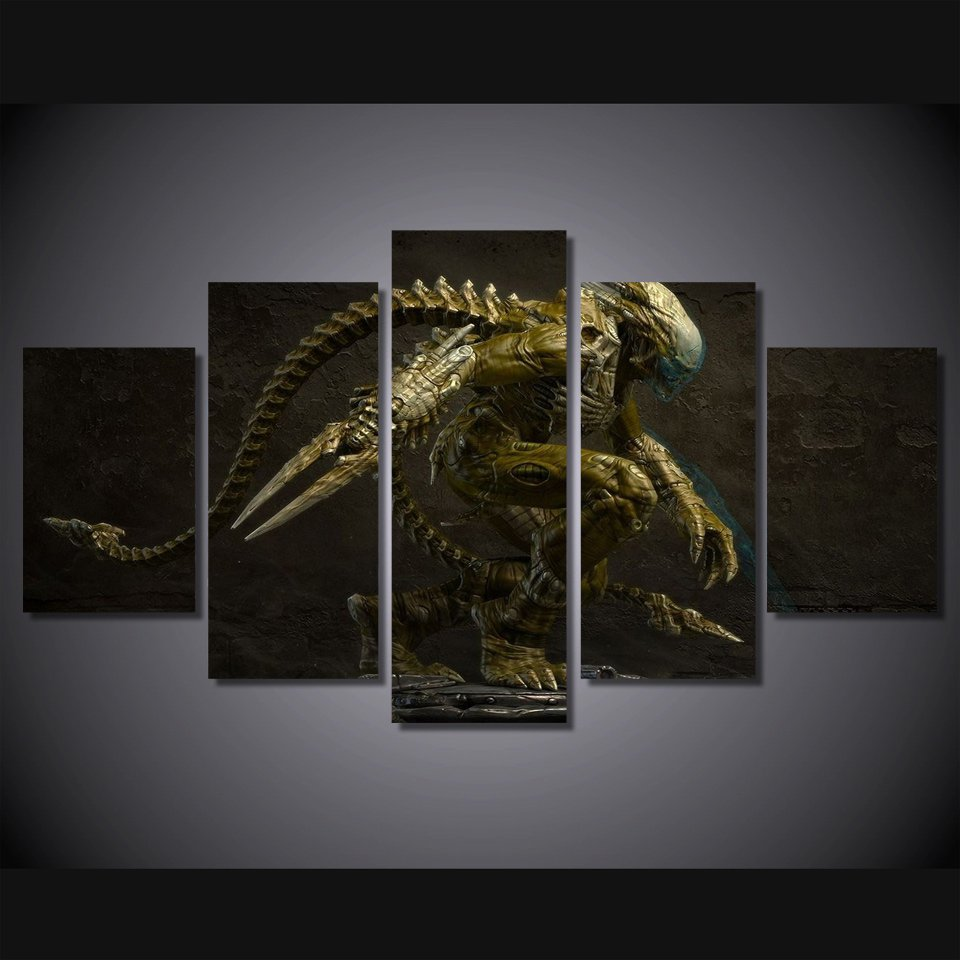 Aliens Alien Movie 5pc Wall Decor Framed Oil Painting HD Horror