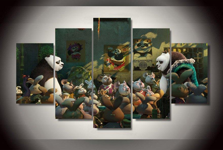 Kung-Fu Panda Movie 5pc Wall Decor Framed Oil Painting HD Cartoon
