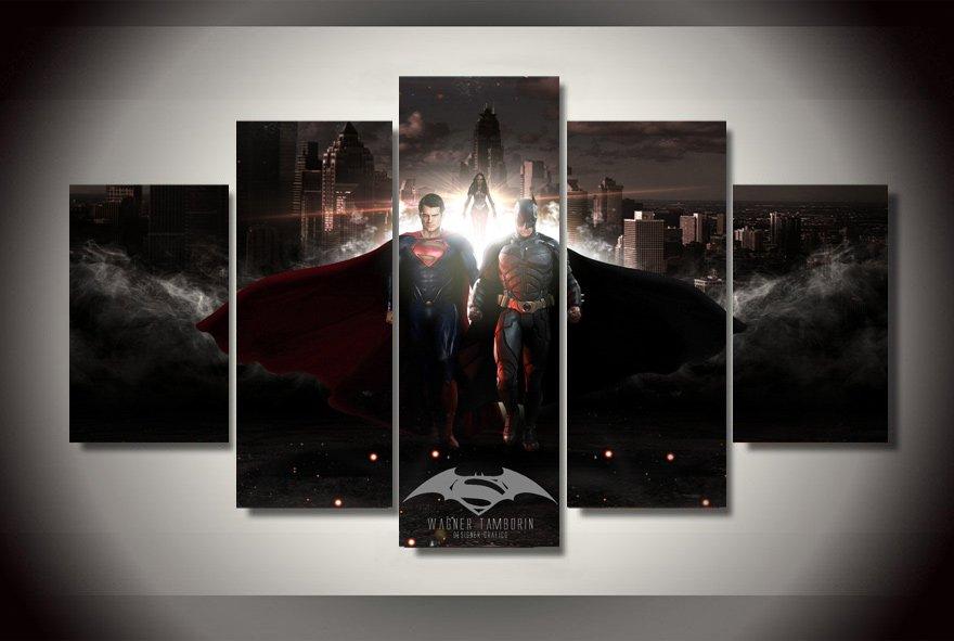 Batman vs Superman Movie 5pc Framed Canvas Oil Painting Wall Decor 2 Superhero HD