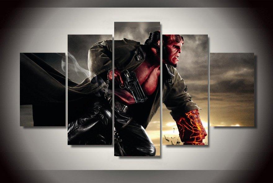 Hellboy Movie 5pc Wall Decor Framed Oil Painting HD Superhero