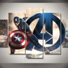 Captain America with Logo Framed 5pc Oil Painting Wall Decor Comics Superhero