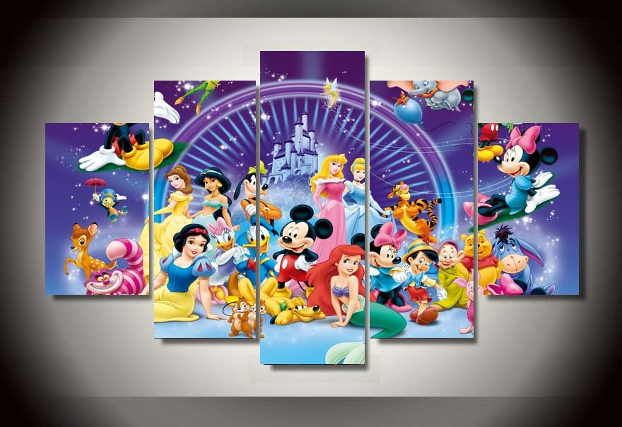 Disney Magic  Castle Characters Framed 5pc Oil Painting Wall Decor HD