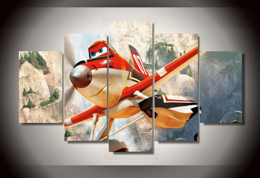 Disney Planes Movie Cartoon Framed 5pc Oil Painting Wall Decor HD