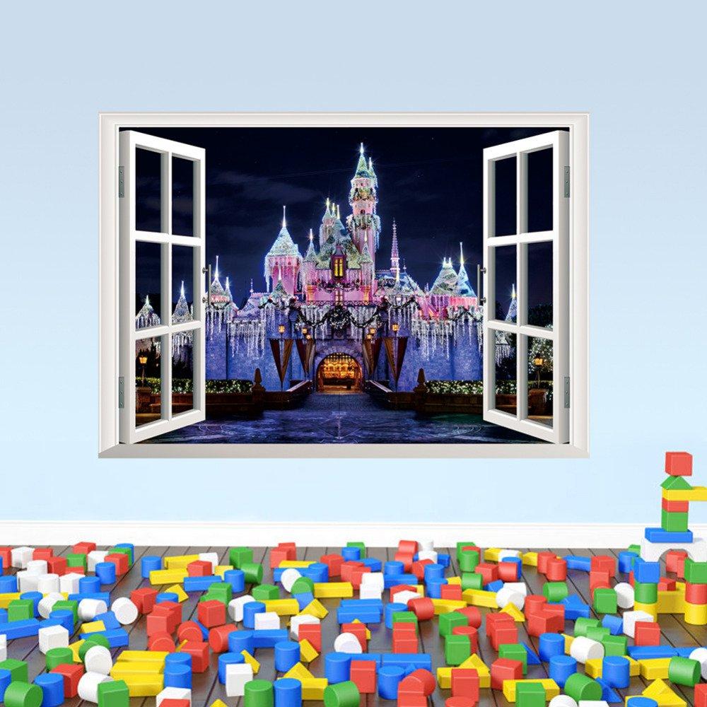 "Cinderella Sleeping Beauty Castle Wall Decal 20""x28"" Disney Design Vinyl Design 3"
