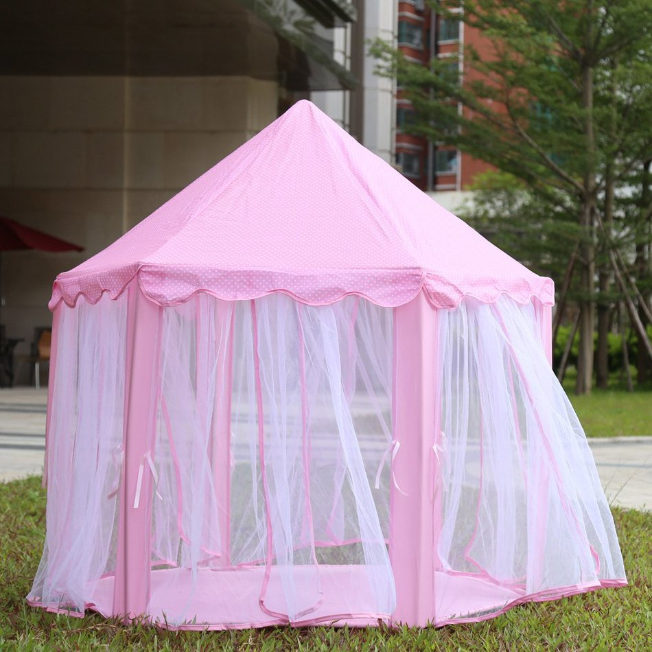 Princess Castle Play tent Portable Royal Fairy Theme Indoor Outdoor- Pink