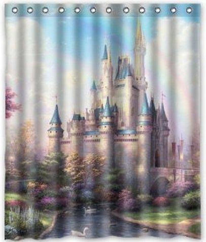 "Cinderella Castle Shower Curtain Custom Hollywood Designs 60""x72"""