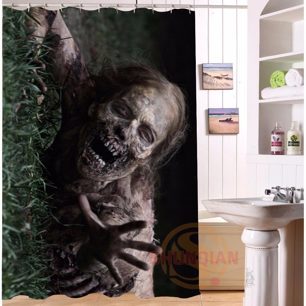 The Walking Dead Shower Curtain Horror Series Hollywood Design Zombie Crawler