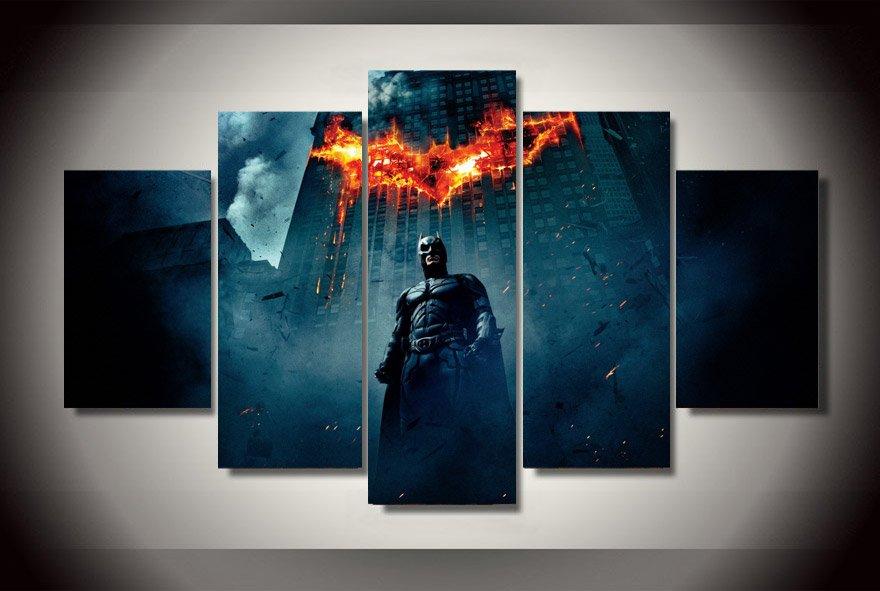 Batman City Destroy HD 5pc Wall Decor Framed Oil Painting Superhero