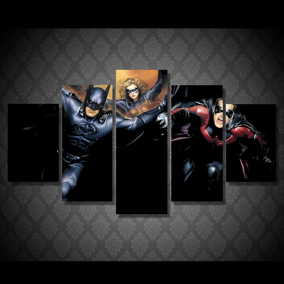 Batman Robin 1997 Comic Pic 5pc Wall Decor Framed Oil Painting Superhero