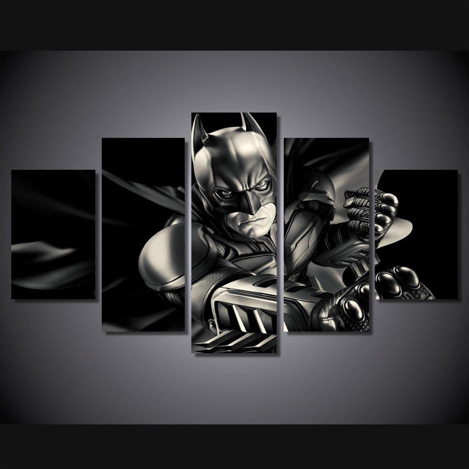 Batman Dark Knight 5pc Wall Decor Framed Oil Painting NEW ARRIVAL Superhero