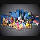 Disney Princess and Group Characters HD Framed 5pc Oil Painting Wall Decor Cartoon