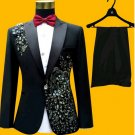 Mens Custom Design Black Tuxedo Suit Luxury  Attire Coat  Pants Tie-XS to 6xl Sale Ends SOON