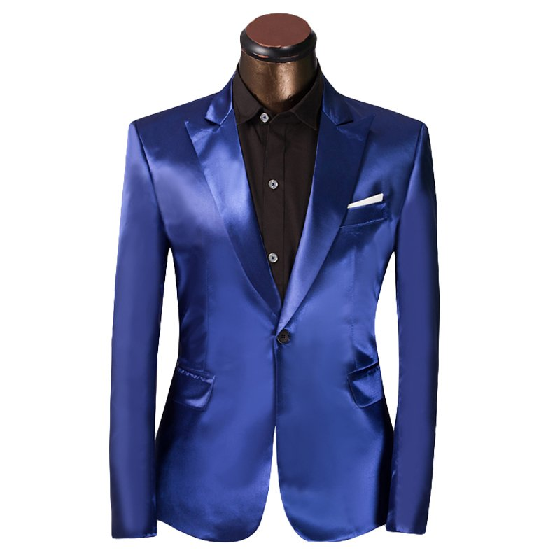 Shiny Blue Slim Fit Single Breasted Tuxedo Suit Luxury Attire Coat, Pants and Tie -M to 4xl