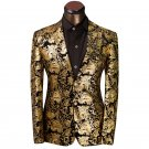 Mens Gold and Black Awards Show Tuxedo Suit Jacket Coat