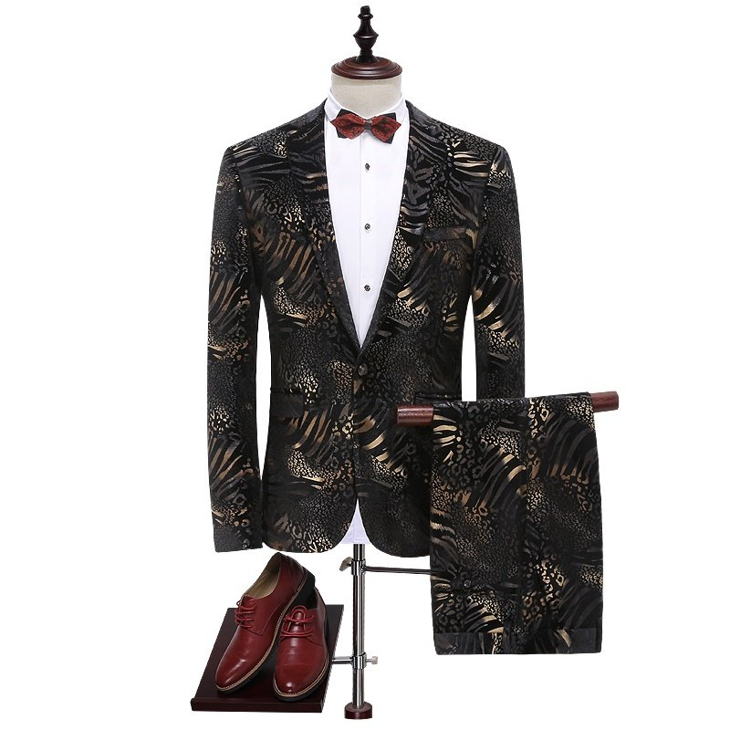 Mens Black and Gold Tuxedo Suit Leopard Design Attire Coat and Pants M to 4xl Sale Ends SOON