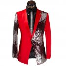 Mens Half solid half Sequence Single Breasted Tuxedo Suit RED Luxury Coat, Pants -XS to 5xl